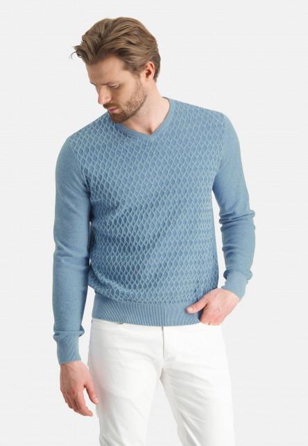 Pull-col-V-uni---bleu/gris-bleu