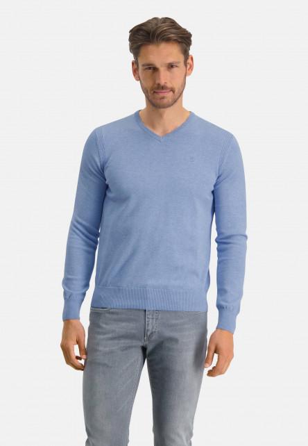 Pull-en-coton-bio-à-col-V---bleu-uni