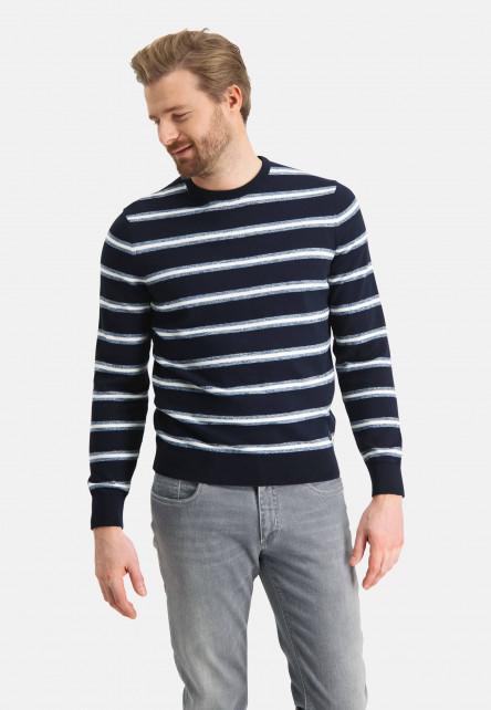 Pull-à-rayures-en-coton---blue-foncé/gris-bleu