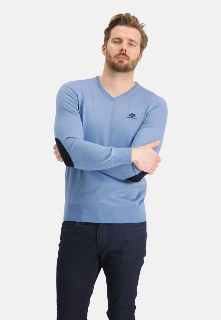Pull-col-V-avec-patchs-de-coude---bleu/blue-foncé
