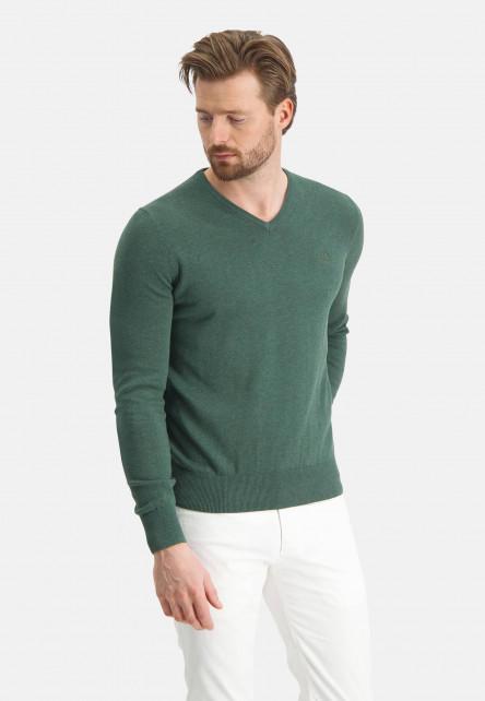 Pull-col-V-avec-coupe-régulière---vert-foncé-monochrome