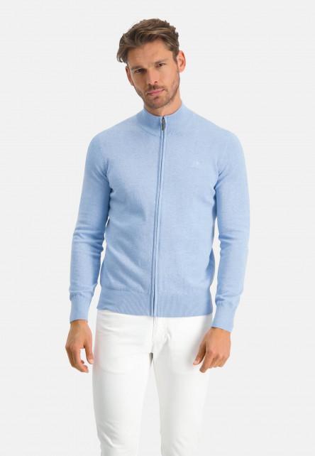Gilet-uni-en-coton---bleu-uni