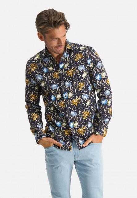 Chemise-à-imprimé---blue-foncé/mango