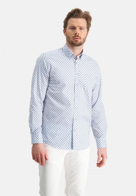 Chemise-à-imprimé-et-regular-fit---blanc/cobalt