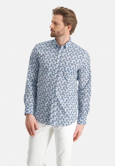 Chemise-à-imprimé-all-over---cobalt/blanc