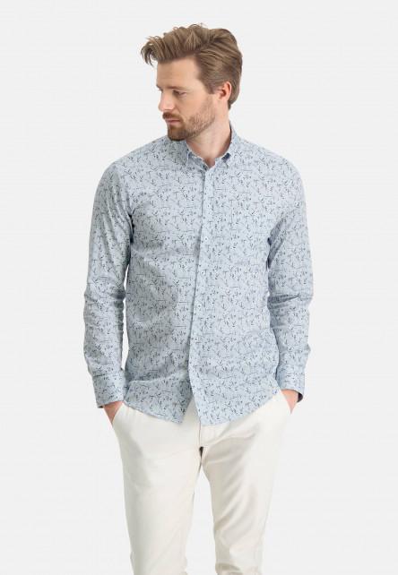 Stretch-chemise-à-imprimé---bleu-claire/chlorophylle