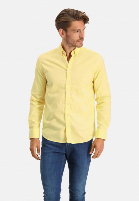 Chemise-en-coton-stretch---jaune-clair/blanc
