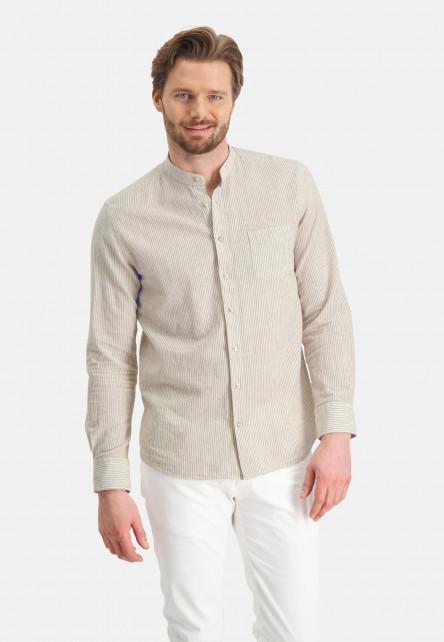 Chemise-à-rayures-et-col-montant---sablé/blanc