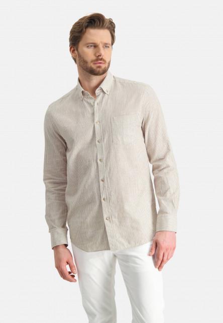 Chemise-à-rayures-en-lin-mélangé---sablé/blanc