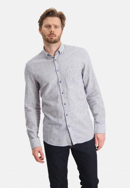 Chemise-à-rayures-en-lin-mélangé---cobalt/blanc