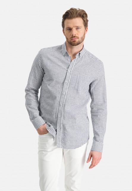 Chemise-à-carreaux-en-lin-mélangé---cobalt/blanc