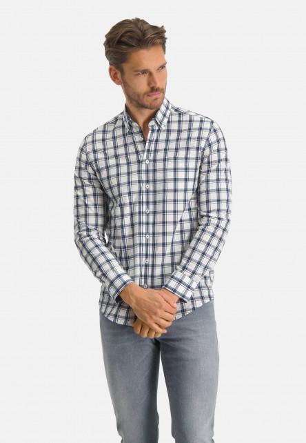 Chemise-à-carreaux-en-coton---blanc/cobalt