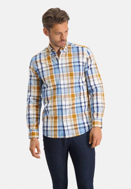 Chemise-en-coton-à-carreaux---mango/cobalt