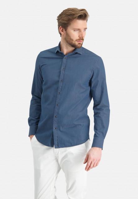 Chemise-en-coton-à-imprimé---gris-bleu-uni