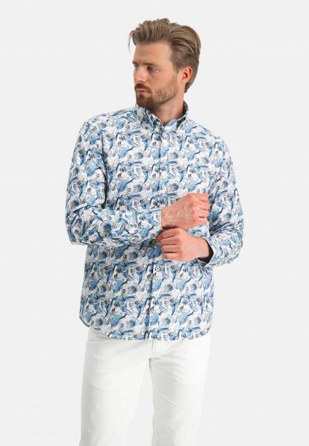 Chemise-à-imprimé---gris-bleu/sablé