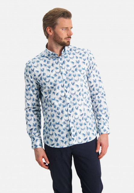 Chemise-à-imprimé---cobalt/blanc