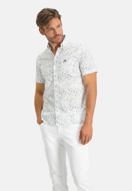 Shirt-SS-Printed-Poplin---Ref-LS-11260---vert-foncé/jaune-clair