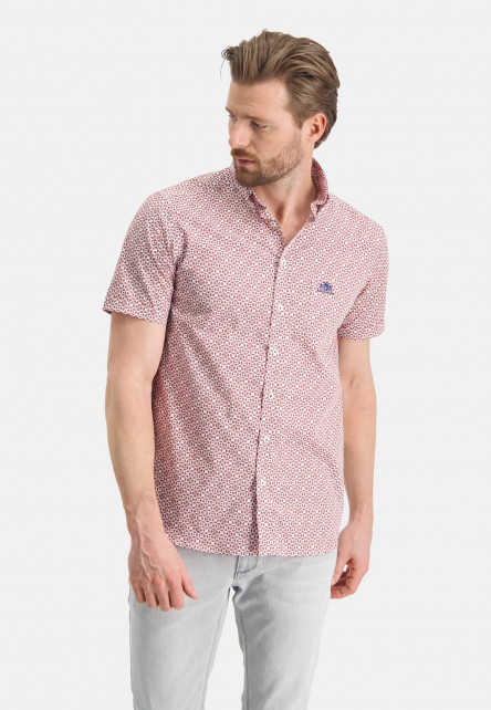 Chemise-à-imprimé-et-manches-courtes---brique/sablé