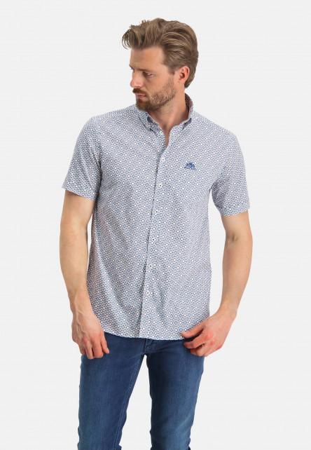 Chemise-à-imprimé-et-manches-courtes---cobalt/bleu