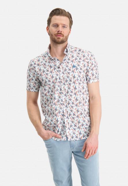 Chemise-à-manches-courtes-et-imprimé---rose/cobalt