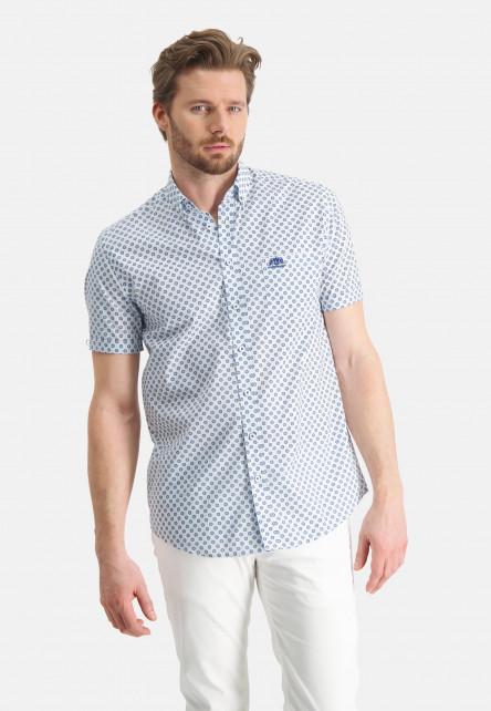 Chemise-à-manches-courtes-imprimé---blanc/cobalt