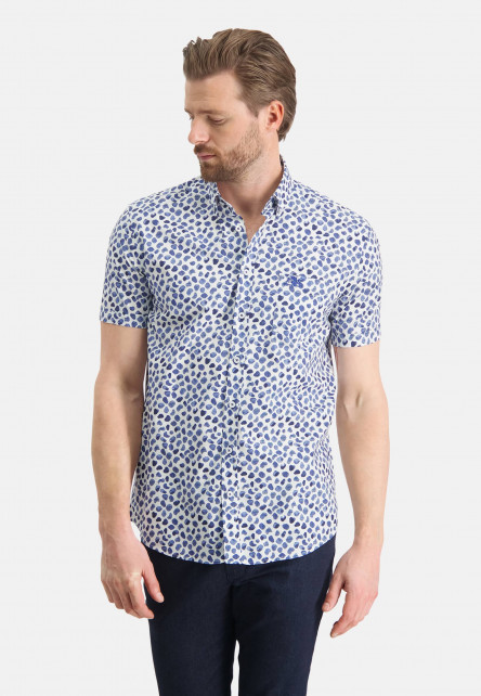 Chemise-en-coton-à-manches-courtes---cobalt/blanc
