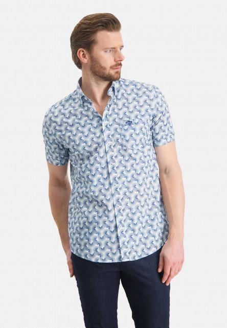 Chemise-à-poche-poitrine---cobalt/blanc
