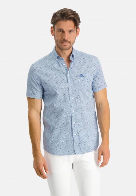 Chemise-à-look-satin---cobalt/bleu-claire