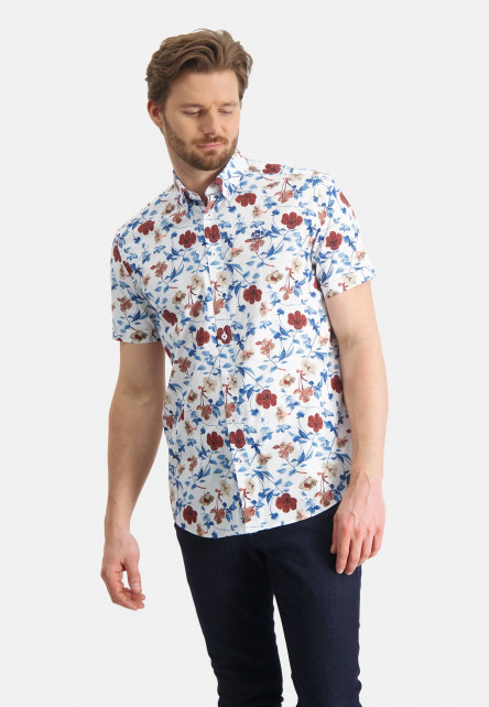 Chemise-à-imprimé-fleuri---brique/sablé