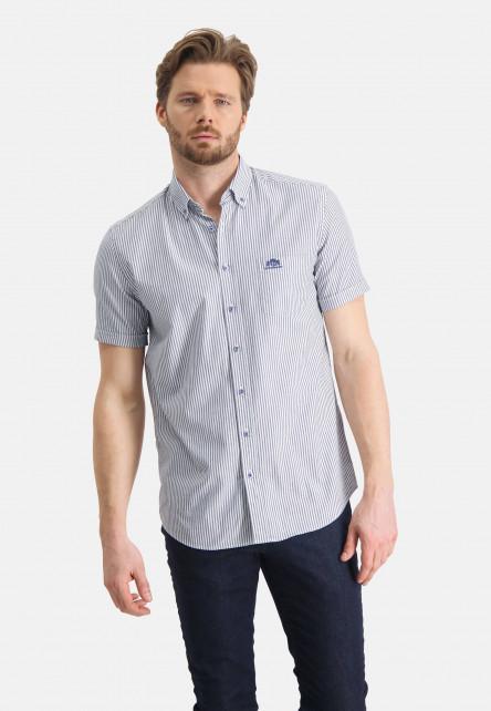 Chemise-regular-fit-à-rayures---blanc/cobalt