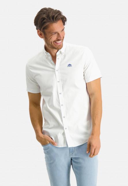 Chemise-oxford-en-coton-stretch---blanc-uni