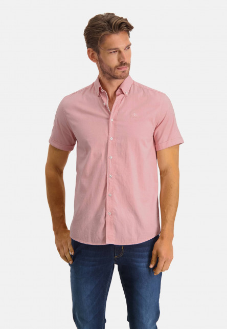 Chemise-oxford-en-coton-stretch---rose/blanc