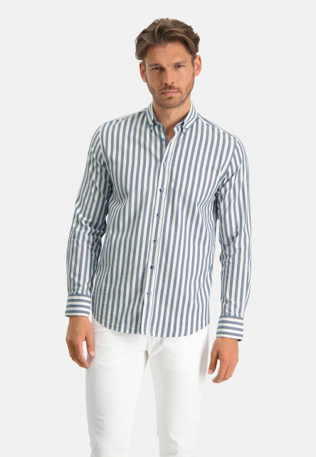 Chemise-à-rayures---blanc/cobalt