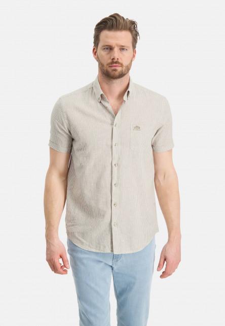 Chemise-à-rayures-et-manches-courtes---sablé/blanc