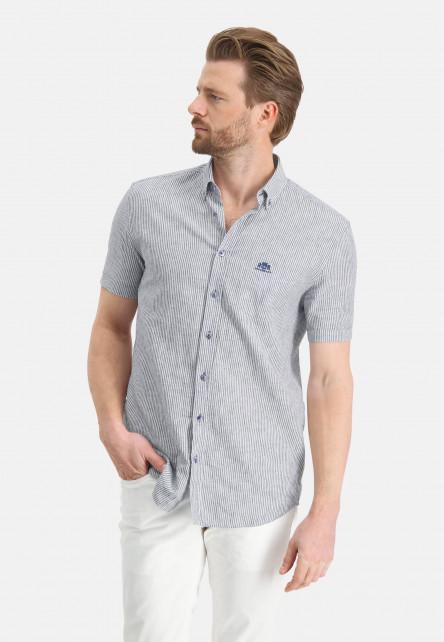 Chemise-à-rayures-et-manches-courtes---cobalt/blanc