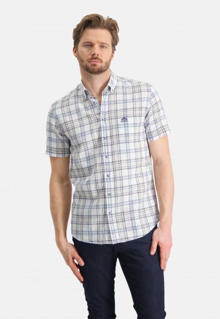 Chemise-à-carreaux-et-poche-poitrine---sablé/cobalt