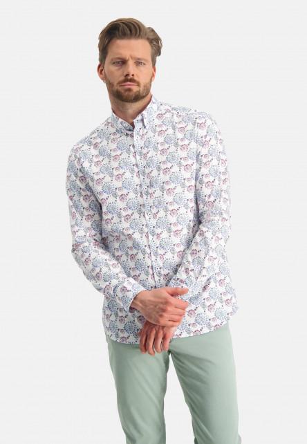 Chemise-à-imprimé---vert-foncé/rose