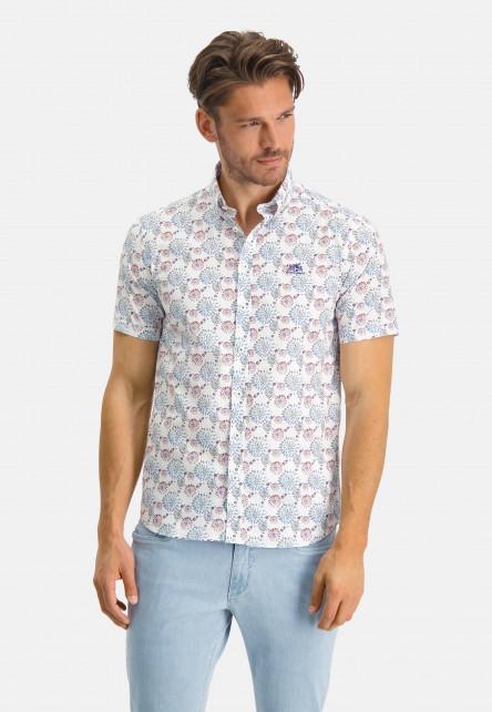 Chemise-à-col-boutonné---vert-foncé/rose