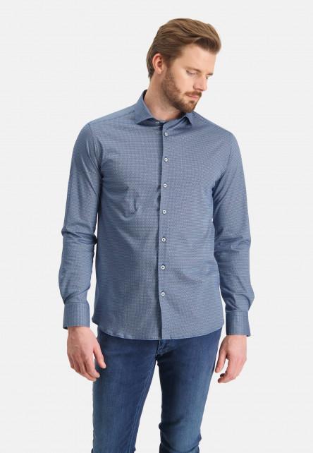 Chemise-tricoté-à-imprimé---cobalt/blanc
