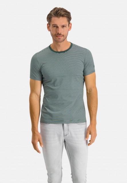 T-shirt-encolure-ronde-à-rayures---vert-foncé/blanc