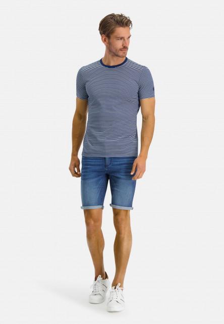 T-shirt-encolure-ronde-à-rayures---cobalt/blanc