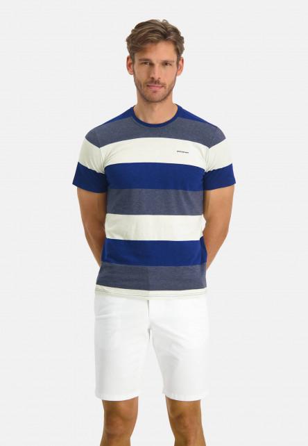 T-shirt-encolure-ronde-à-rayures---cobalt/blue-foncé