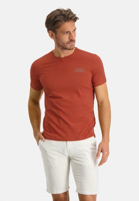 T-shirt-en-coton-à-artwork---brique/foie