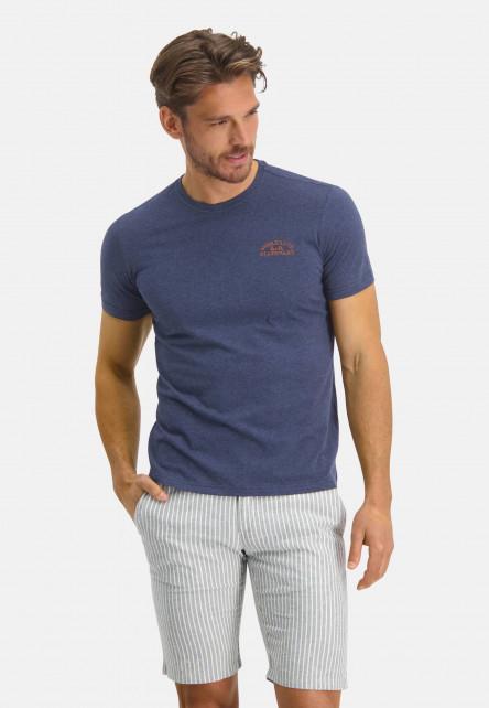 T-shirt-en-coton-à-artwork---blue-foncé/mango