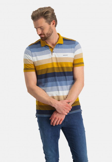 Polo-à-rayures-en-coton-bio---mango/gris-bleu