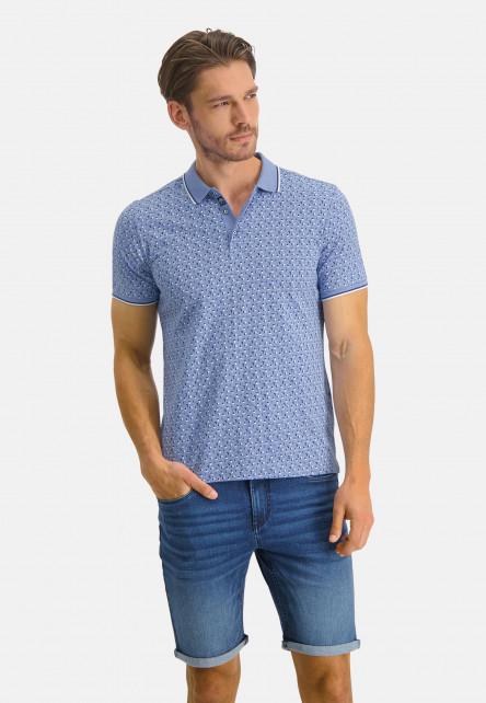 Polo-Jersey-manches-courtes-imprimé---bleu/cobalt