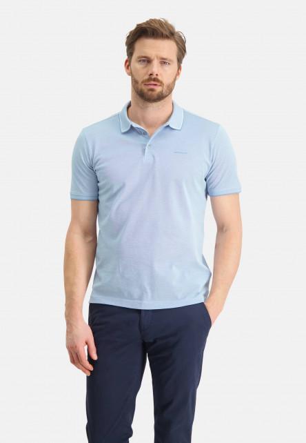 Polo-en-coton-mercerisé---gris-bleu/blanc