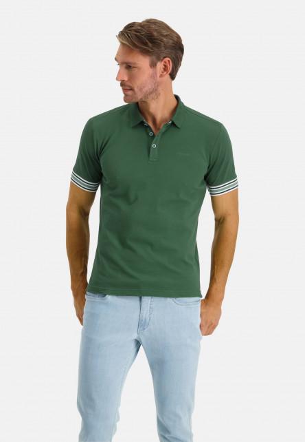Polo-piqué-manches-courtes-uni---vert-foncé-monochrome