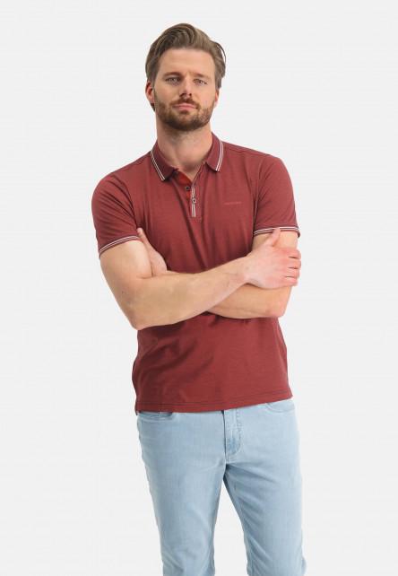 Polo-jersey-en-coton-mercerisé---brique/blue-foncé