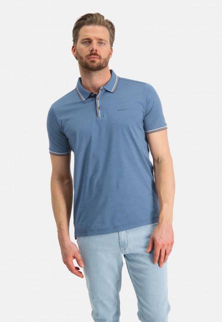 Polo-jersey-en-coton-mercerisé---blue-foncé/gris-bleu